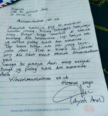 Surat Balasan Untuk Orang Tua Guru Amel Hanson Tjung