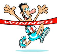 cartoon-athlete-winning-race-caricature-smiling-man-crossing-finish-line-77545424