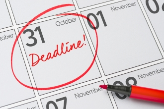 Deadline Written On A Calendar - October 31